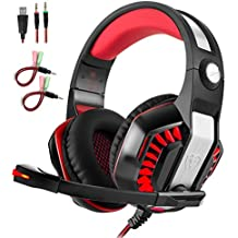 Professional Gaming Headset with Mic USB LED Light Stereo Sound for PC Xbox one ps4 iPhone Noise Isolating Over-The-Ear Headphones with Bass Surround Soft Memory Earmuffs for Nintendo Switch Games