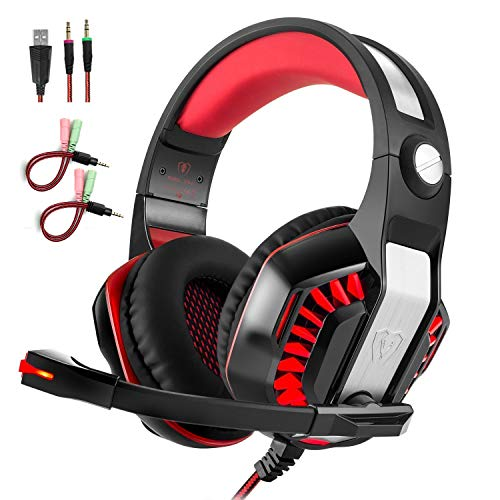 Pro Stereo Headset - Professional PC Gaming Headset with Mic for PS4, Xbox One, Pro Over-Ear Headphones with USB LED Light, Noise Cancelling, Stereo Bass Surround, Volume Control for Laptop, Computer, Smartphones
