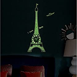 DIY Clock 3D Eiffel Tower And Wall Stickers Glow in the Dark Wall Home Decoration Non-Ticking Silent Wall Clock la Tour Eiffel Multi-Function Clock Decor (Eiffel Tower)