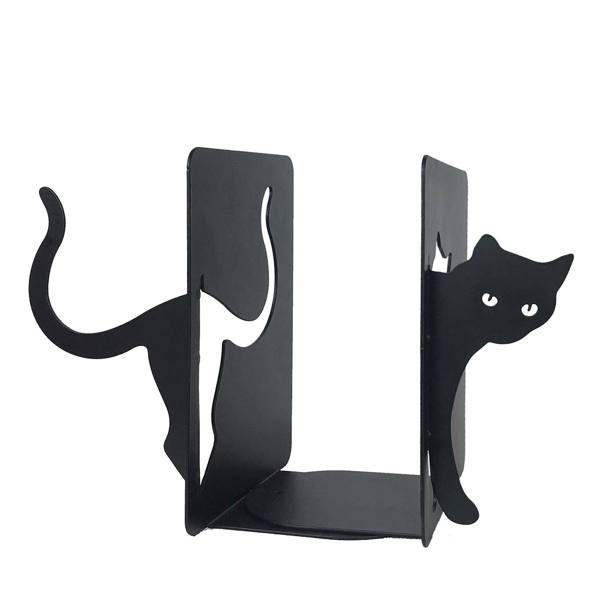 PandS Black Cat Iron Non Slip Bookends. Great for Office Home School Stationary Kids Ideal Gift Birthdays Holidays. Organize Books Magazines DVD by PandS