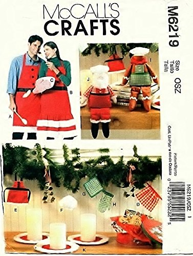 (OoP McCall Crafts Sewing Pattern 6219 - Use to Make - Christmas Decorations, Aprons (S-XL), Mitt, Santa and Gingerbread Dolls)