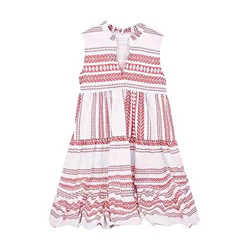 Keepfit Women Summer Tunic Dress V Neck Casual Loose Shift Short Dresses, Sleeveless Strap Open Back Midi Dress Red