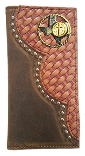 THE Texas Cross and Weave Rope Proudly Wallet Buckskin Checkbook Basket Custom Color IN Leather USA MADE Long qEHnZ