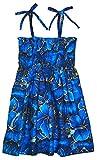 RJC Girls Golden Hibiscus Elastic Tube Dress Blue 3