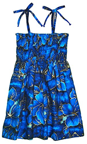 RJC Girls Golden Hibiscus Elastic Tube Dress Blue 3 by RJC