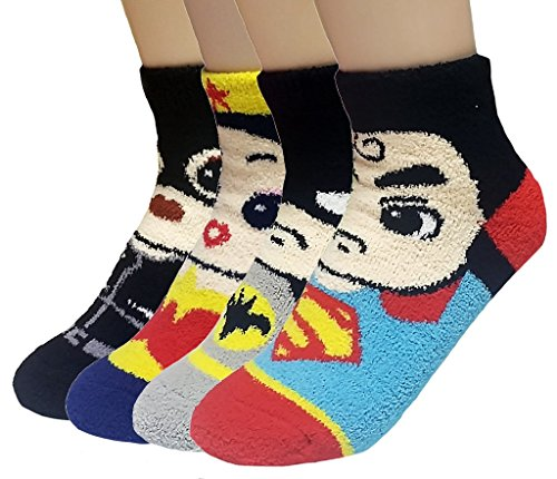 JJMax Women's Superheroes and Villains Cute Cartoon Hero Socks Set (Fuzzy 4 Pair Set), Microfiber Heroes, One -