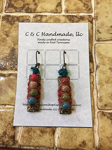 Colorful Mixed Media Ceramic Picasso Beads Wrapped With Burgundy & Blue Hemp (Picasso Mixed Media)