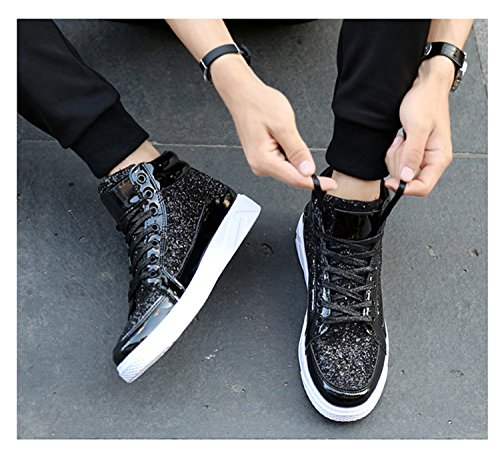 RAINSTAR Mens Bright Surface High Top Fashion Sneaker Lace Up Casual Sport Shoe Black 8wygu0