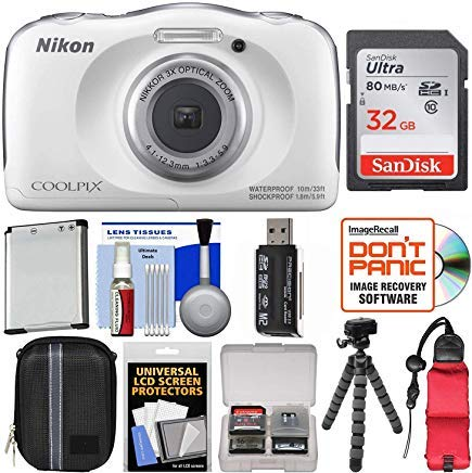 Nikon Coolpix W100 Wi-Fi Shock & Waterproof Digital Camera (White) with 32GB Card + Case + Battery + Flex Tripod + Float Strap + Ultimate Kit