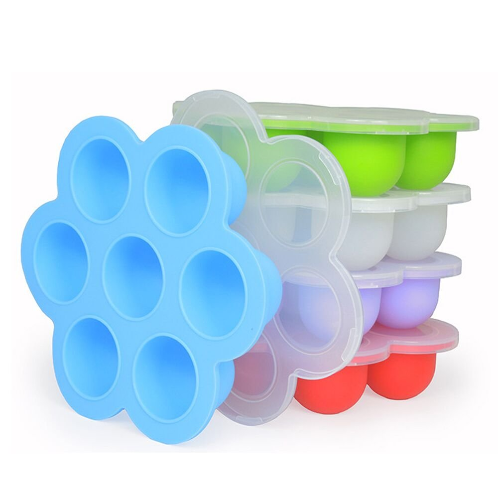 Princo Silicone Egg Bites Molds 3-in-1 Pack Multifunctional Food Tray with Lid (Blue/Green/Pink)