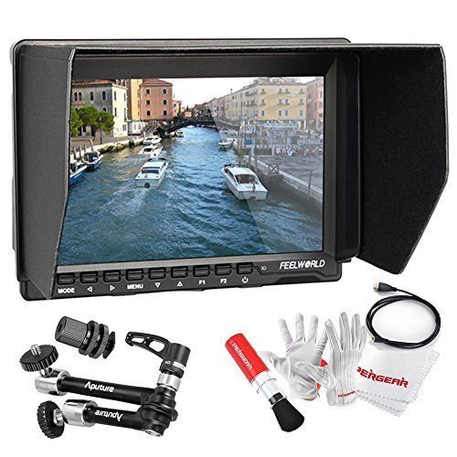 Feelworld FW759 7 inch Ultra HD 1280x800 IPS Screen Camera Field Monitor with Aputure A10 10 Inch Multifunctional Magic Arm and Pegear cleaning Kit by FEELWORLD