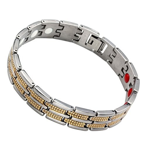 PiercingJ Punk Unisex Magnetic Bracelet Link Bangle Chain Stainless Steel Silver & Golden 2-Tone 9