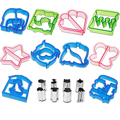 Star Dough Cutter (Netany 18pcs Sandwich Cutter / Crust Cutters / Bread Cutter Shapes - Come with 8 mini Vegetable Cutters)