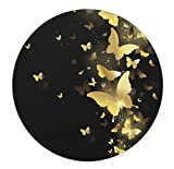 TuMeimei Non-Slip Rubber Round Mouse Pad, The golden butterfly flying in the dark Design Round mouse pad (7.87 inch x 7.87 inch)