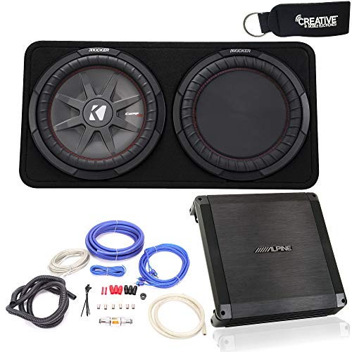 Alpine BBX-T600 Amplifier and Kicker CompRT12 12-inch Subwoofer in Thin Profile Enclosure, 4-Ohm - Includes Wire kit
