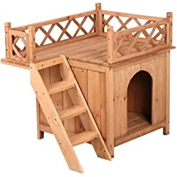 Wood Dog House Shelter With Raised Roof Balcony and Ladder Natural New