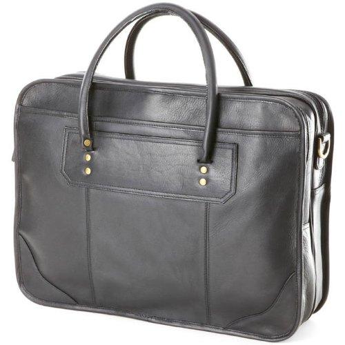 (Clava Leather Top Handle Laptop Briefcase (Vachetta Black))