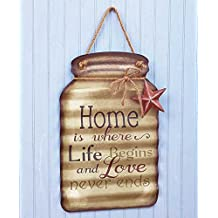 Home Sentiment Tin Mason Jar Sign