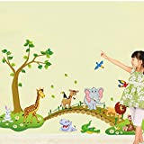 ufengke® Green Tree Cute Lion Rabbit Giraffe Elephant Crossing The Bridge Wall Decals, Children's Room Nursery Removable Wall Stickers Murals