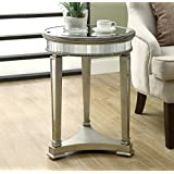 Monarch Specialties Diameter Accent Table, 20-Inch, Mirrored