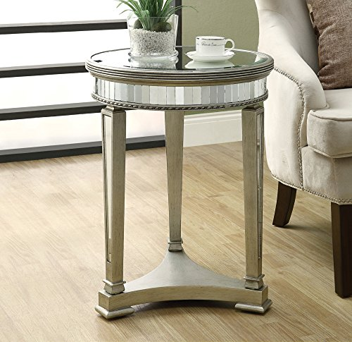 Monarch Specialties Diameter Accent Table, 20-Inch, Mirrored - Living Room Mirrored Accent Table