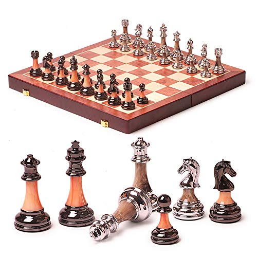 Onyx Set Chess Red (Wooden Chess Set Game, Portable Game of International Chess, Folding Chessboard Imitation Jade ABS Chess Pieces)