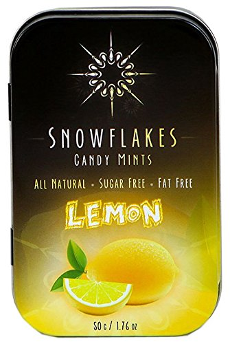 Lemon Xylitol Candy Chips - Snowflakes 50g Tin - Handcrafted with ONLY 2 Ingredients | Diabetic-friendly, Non-GMO, Vegan, GF & Kosher | Purest sugar-free candy in the world! ()