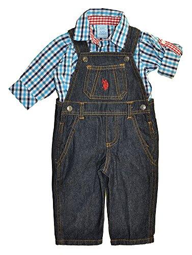 Plaid Boys Overalls (US Polo Assn Baby Boys Blue Plaid Shirt 2pc Denim Overall Set (24M))