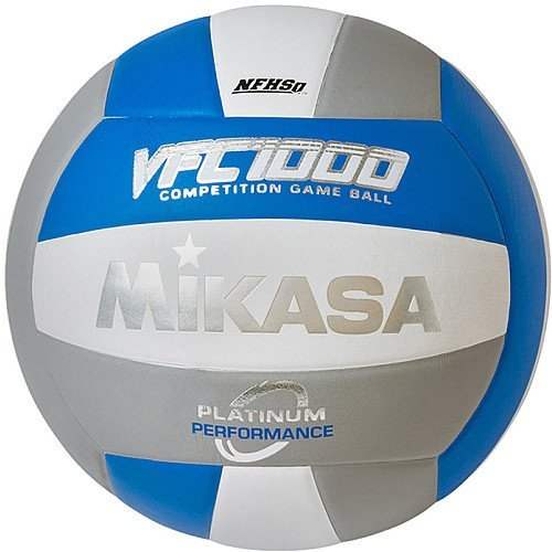 Mikasa Platinum Performance Volleyball, Blue/Silver/White