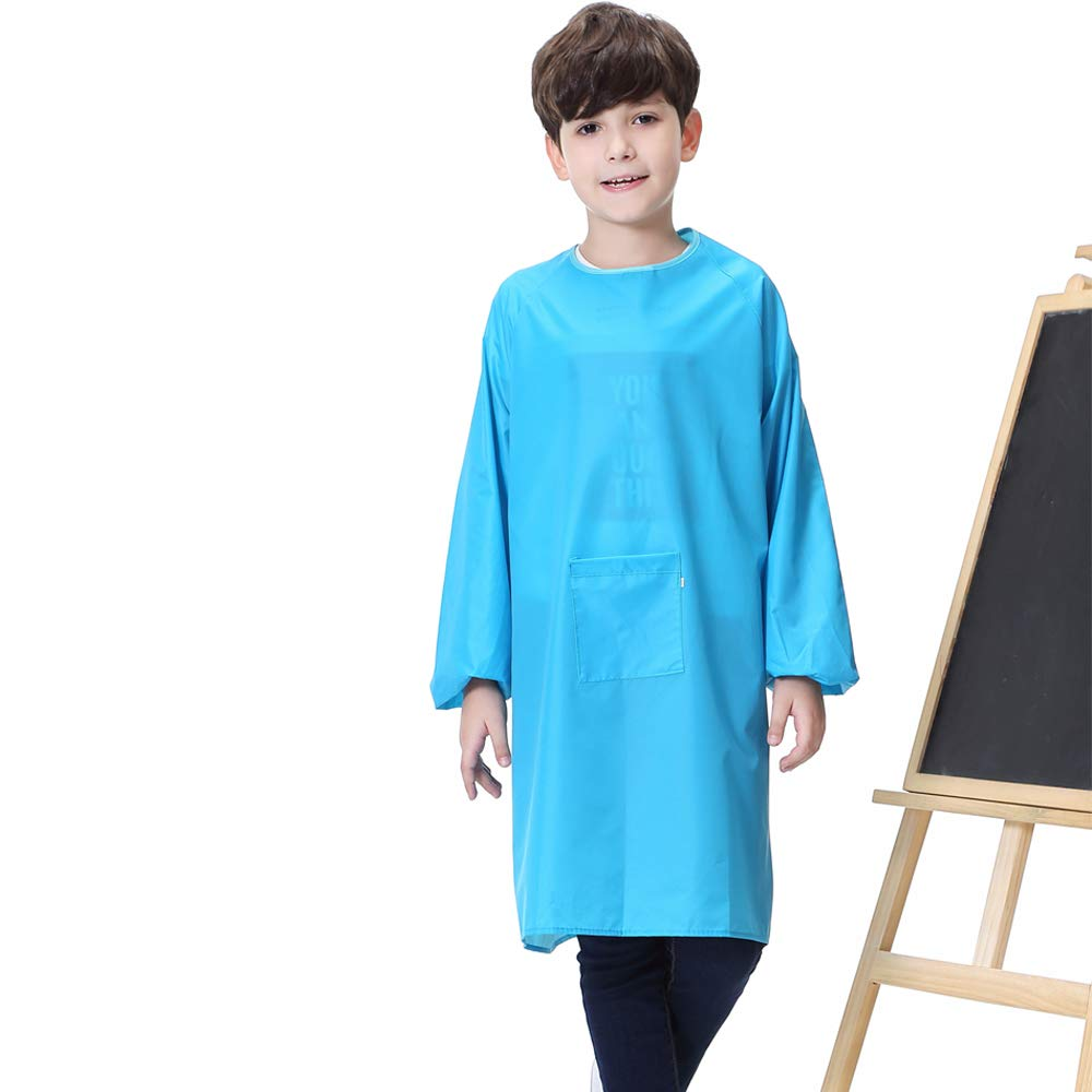 miniQ Kids Art Smock Painting Apron for Toddler Preschool Children with Pocket,Long Sleeves,Long Section,Waterproof XXL for Age 6-8, Blue for boy