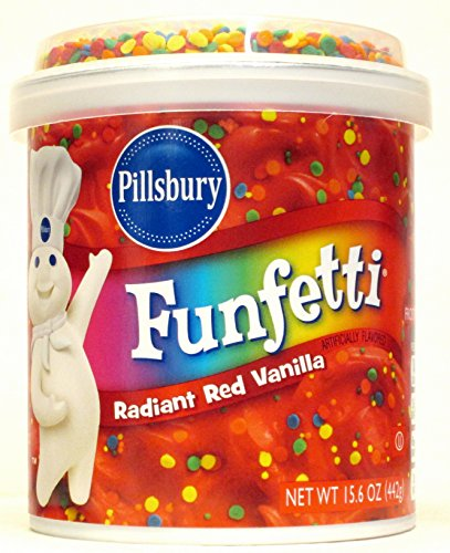 (Pillsbury Radiant Red Vanilla Funfetti Frosting (Pack of 2) 15.6 oz Tubs)