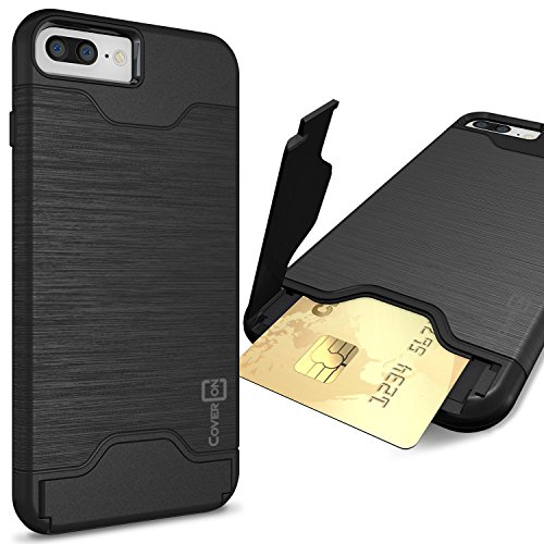 CoverON [SecureCard Series] Fit iPhone 8 Plus Case with Card Holder, iPhone 7 Plus Case, Protective Hybrid Cover with Card Slot and Kickstand Case for Apple iPhone 8 Plus/iPhone 7 Plus - Black