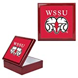 CollegeFanGear Winston Salem Red Mahogany Accessory Box With 6 x 6 Tile 'WSSU Ram'