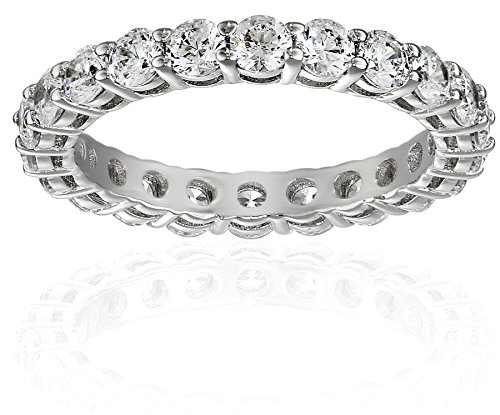 Platinum-Plated Sterling Silver All-Around Band Ring set with Round Swarovski Zirconia (2 cttw), Size 7