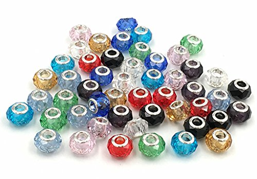 Kinteshun Single-colored Crystal Glass Spacer Multidimensional Beads Charm for DIY Jewelry Making Accessaries(50pcs,10 Different Colors Mixed) (Crystal Bead Single)