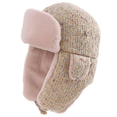 (Womens Trapper Hat Aviator Earflap Hat Faux Fur Warm Winter Hat for Ladies Pilot Soviet Russian Ushanka SIGGI)