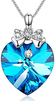 Angelady Love Guardian Heart Pendant Necklace, Crystals with 5A Cubic Zirconia, Love Heart Pendant Necklace fo