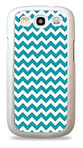 Teal and White Chevron Zig Zag Stripes Pattern Phone Skin Cover White Silicone Case for Samsung Galaxy S3