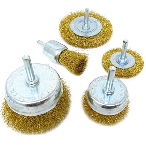 5pc Brass Coated Wire Brush Wheel & Cup Set (Cup Brush Brass)