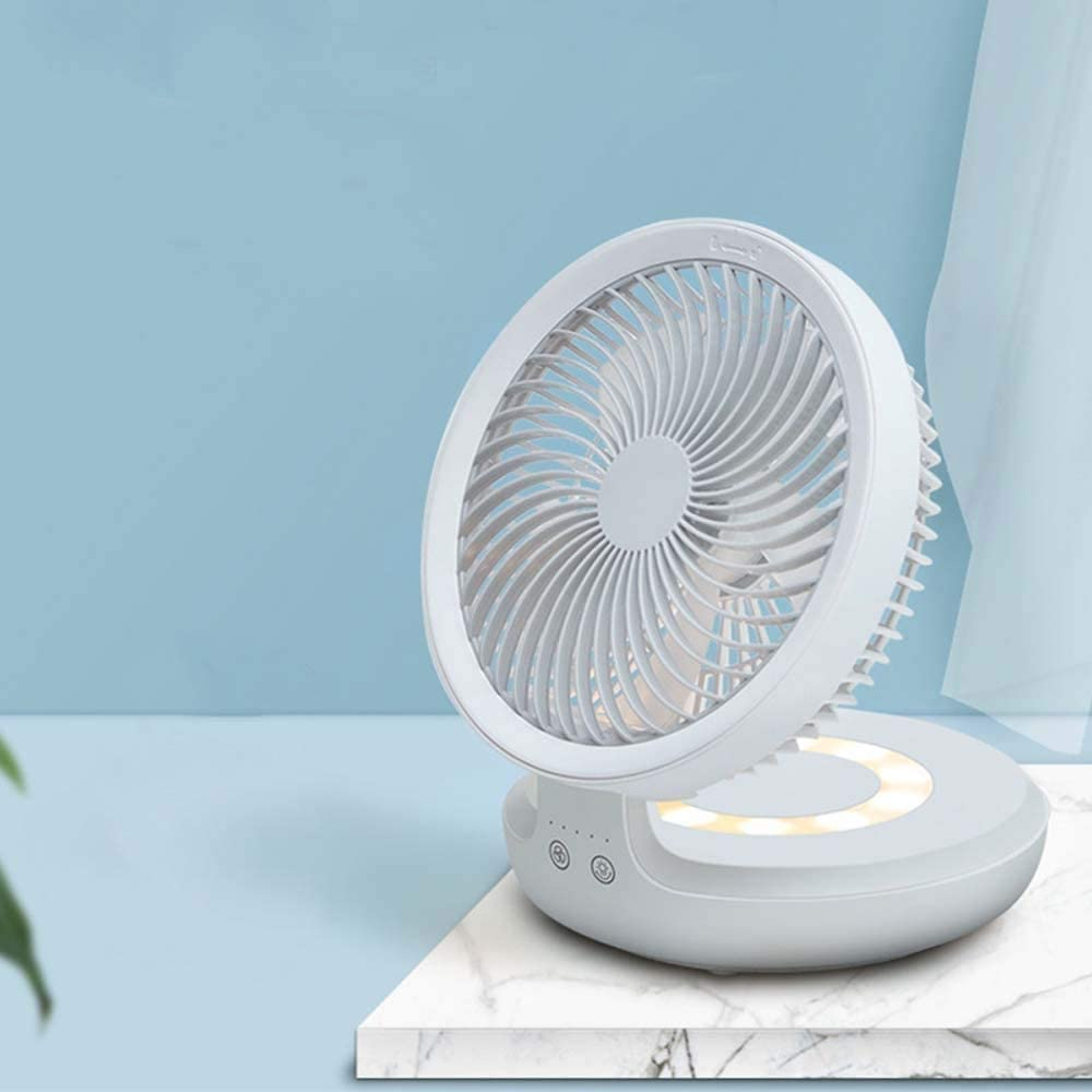 Color : White XIAOF-FEN Suspended Fan USB Charging Portable 4 Gear Wall Mute Led Folding Table 4000mAH 120 Degrees Rotation USB Fan