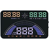 Portta Head Up Display 5.8 ABS PC HUD with OBD Data Speed RPM Water Temperature Overspeed Alarm GPS Data Altitude Auto Manual Brightness Adjustment Satellite Signal Indication