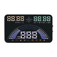 Portta Head Up Display 14,7cm ABS PC Hup avec OBD Vitesse de transmission de données RPM Température de l'eau la Alarme Altitude de données GPS Auto Réglage manuel de la luminosité Indicateur de signal satellite