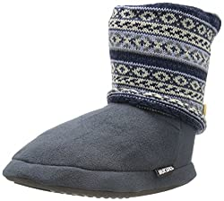 Muk Luks Women's Legwarmer BT Chunky Fairisle Boot, Blue, Small/5-6 M US