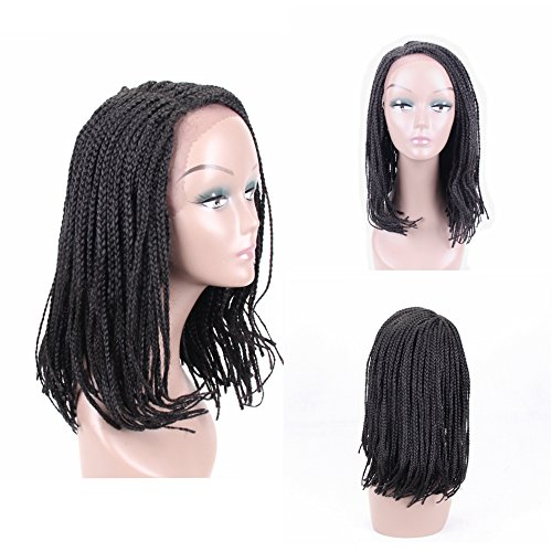 HAIR WAY Box Braided Wigs Bob Style Lace Front Wig for Black Women Glueless Medium Length Bob Braided Lace Wig with Baby Hair for Daily Wear Half Hand Tied 16inches #1B