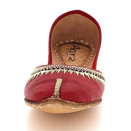Fait Traditionnel Ethnique Rouge Sur Indiennes Chaussures London Dames Taille Cuir Aarz Khussa Main Plat Pompes Glisser Femmes XtqUnH