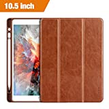 Benuo iPad Pro 10.5 Case 2017 with Apple Pencil Holder - [Vintage Series] Folio Flip Leather Cover Auto Sleep Wake Function for iPad Pro 10.5 Inch 2017 Released Table (Brown)