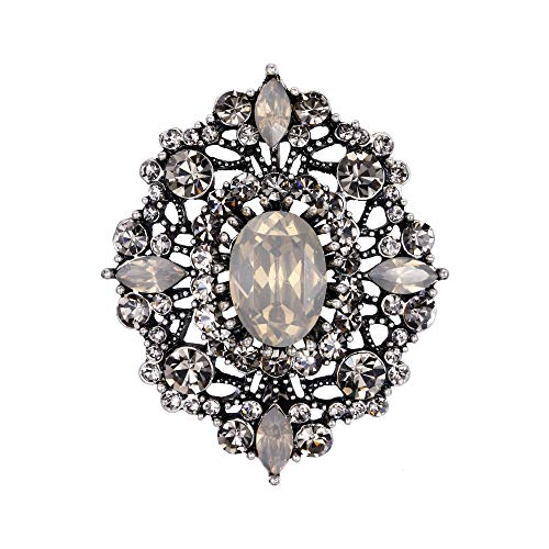 EVER FAITH Women's Oval w/Marquise Crystal Elegant Boho Banquet Flower Brooch Grey Antique Silver-Tone Antique Silver Tone Brooch