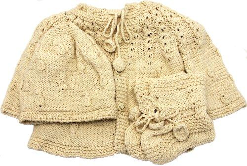 Handmade Newborn Baby Sweater and Hat Set - Natural (100% Hand-knitted)