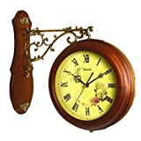 Double-Sided Wood Wall Clock Large Art Decor Modern Mechanism For Kitchen, Living Room, Office For Kids