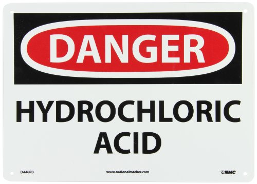 Hydrochloric Acid Sign (NMC D446RB OSHA Sign, Legend